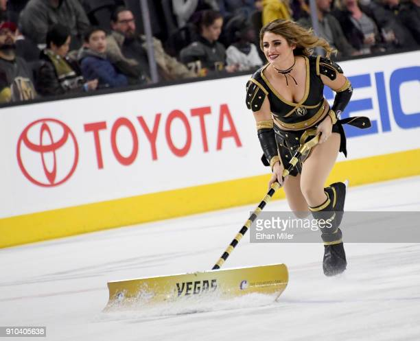A member of the Knights Crew cleans the ice during the Vegas Golden Knights' game against the New York Islanders at TMobile Arena on January 25 2018...