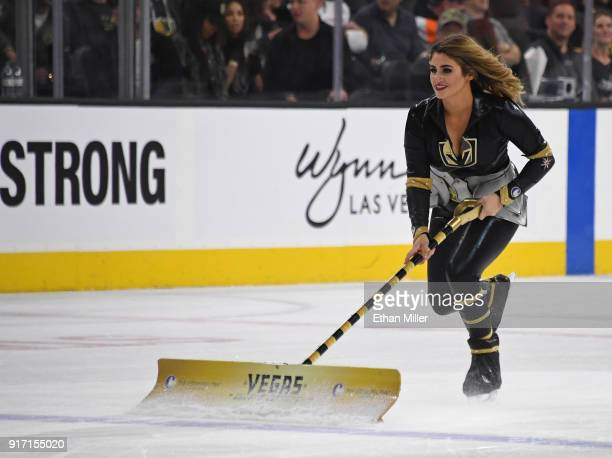 A member of the Knights Crew cleans the ice during the Vegas Golden Knights' game against the Philadelphia Flyers at TMobile Arena on February 11...