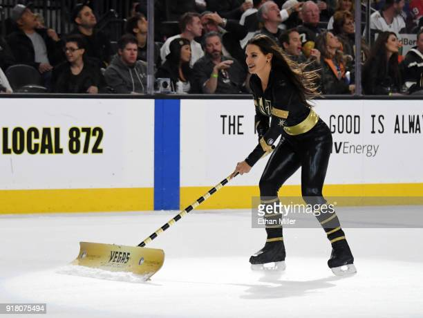 A member of the Knights Crew cleans the ice during the Vegas Golden Knights' game against the Chicago Blackhawks at TMobile Arena on February 13 2018...
