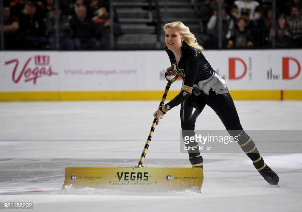 A member of the Knights Crew cleans the ice during the Vegas Golden Knights' game against the Anaheim Ducks at TMobile Arena on February 19 2018 in...