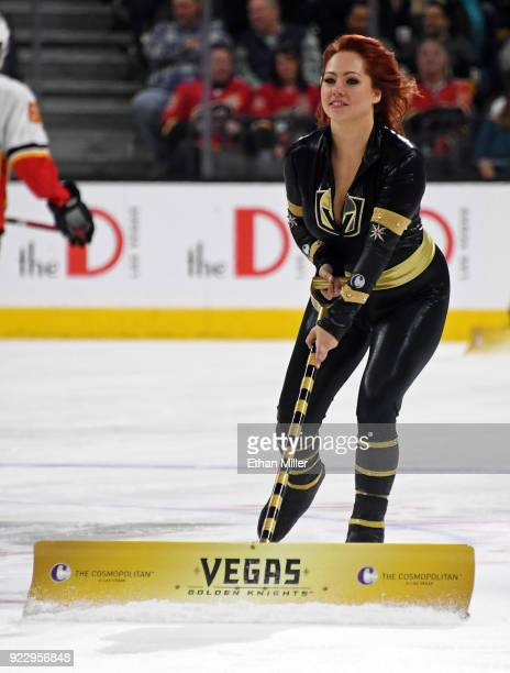 A member of the Knights Crew cleans the ice during the Vegas Golden Knights' game against the Calgary Flames at TMobile Arena on February 21 2018 in...