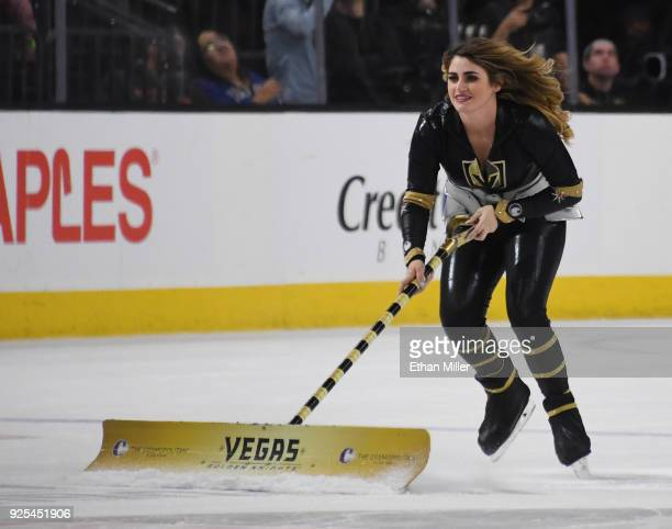 A member of the Knights Crew cleans the ice during the Vegas Golden Knights' game against the Los Angeles Kings at TMobile Arena on February 27 2018...