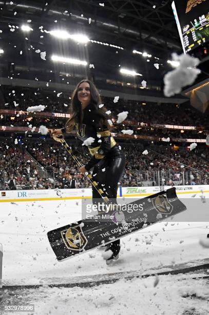 A member of the Knights Crew cleans the ice during the Vegas Golden Knights' game against the Minnesota Wild game at TMobile Arena on March 16 2018...