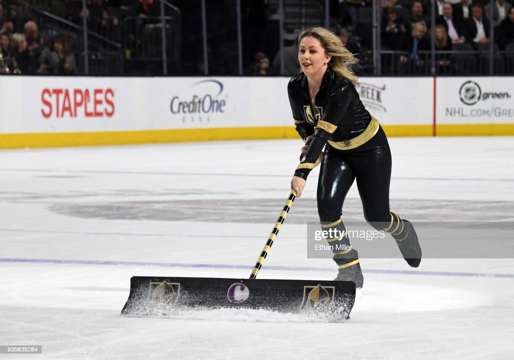 Golden Knights Vs Canucks News: A Member Of The Knights Crew Cleans The Ice During The