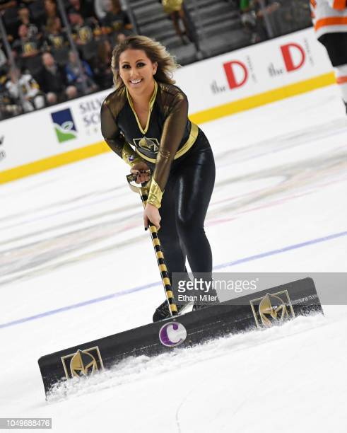 A member of the Knights Guard cleans the ice during the Vegas Golden Knights' game against the Philadelphia Flyers in the third period of their game...