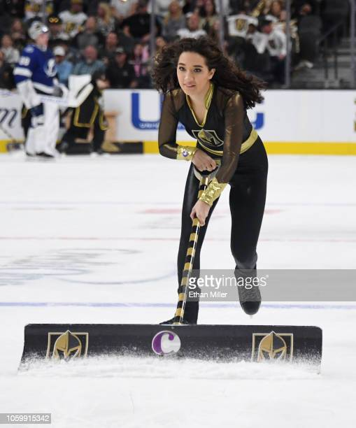 A member of the Knights Guard cleans the ice during the Vegas Golden Knights' game against the Tampa Bay Lightning at TMobile Arena on October 26...