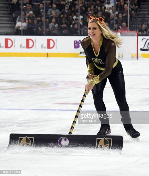 A member of the Knights Guard cleans the ice during the Vegas Golden Knights' game against the Ottawa Senators at TMobile Arena on October 28 2018 in...