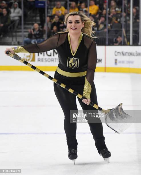 A member of the Knights Guard cleans the ice during the Vegas Golden Knights' game against the Nashville Predators at TMobile Arena on February 16...