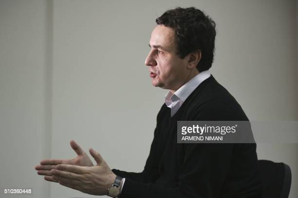 Member of the Kosovo Parliament and Opposition Leader Albin Kurti speaks during an interview in Pristina on February 4 2016 Eight years after ethnic...