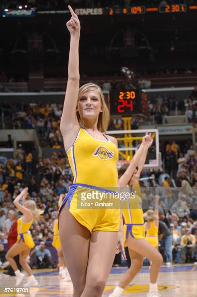 A member of the Laker Girls dance team performs during the Los Angeles Lakers game against the Phoenix Suns in game six of the Western Conference...
