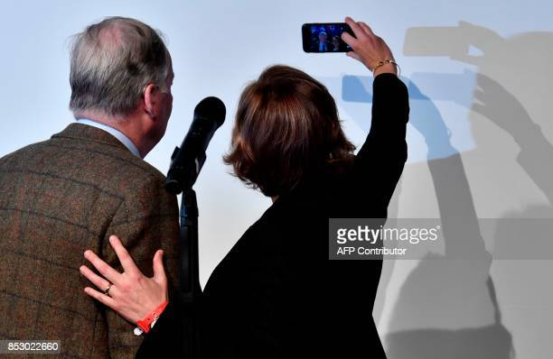 Member of the leadership of the Alternative for Germany Beatrix von Storch and top candidate of the Alternative for Germany Alexander Gauland make a...
