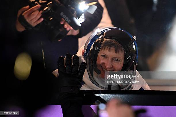 Member of the main crew of the 50/51 expedition to the International Space Station US astronaut Peggy Whitson waves to the crowd at the Russianleased...