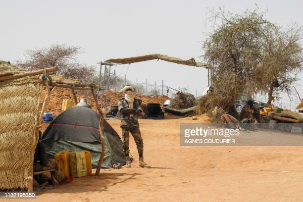 A member of the Malian Army is seen at the military base in Anderamboukane Menaka region on March 22 2019