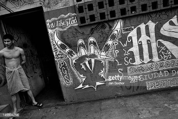 A member of the Mara Salvatrucha gang stands in front of his cell in the prison of Tonacatepeque on May 18 2011 in Tonacatepeque El Salvador During...