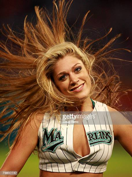 A member of the Marlins Mermaids performs between innings as the Philadelphia Phillies take on the Florida Marlins at Dolphin Stadium on April 6 2007...