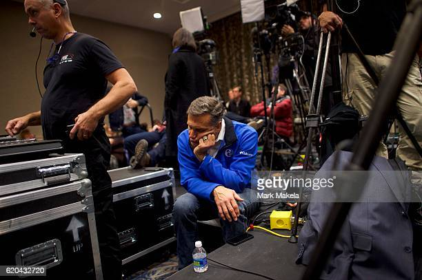 A member of the media sleeps before Republican Presidential nominee Donald J Trump holds a rally at the Double Tree by Hilton Valley Forge November 1...
