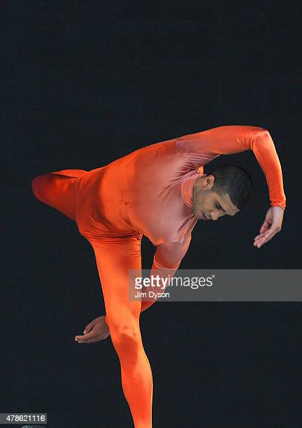 Member of the Michael Clark Ballet Company performs live on the Pyramid stage during the first day of the Glastonbury Festival at Worthy Farm, Pilton...