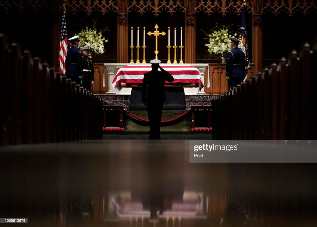Casket Carrying President George H.W. Bush Arrives To St. Martin's Episcopal Church In Houston : News Photo