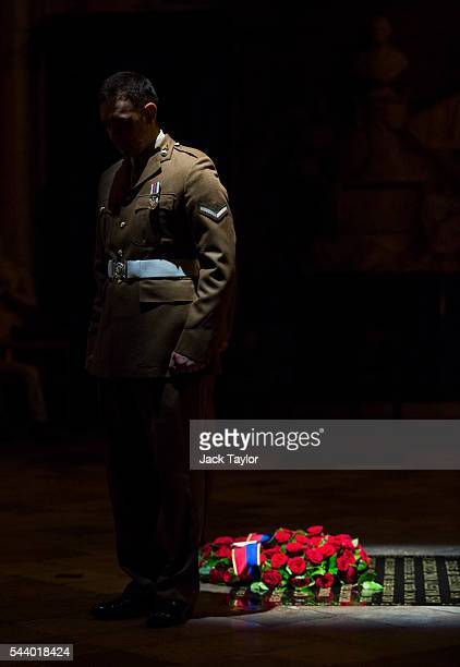 A member of the military stands at the Grave of the Unknown Warrior during a vigil to commemorate the centenary of the Battle of the Somme at...