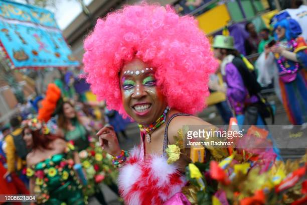 A member of the Mondo Kayo Social and Marching Club parades down St Charles Avenue during Fat Tuesday celebrations on February 25 2020 in New Orleans...