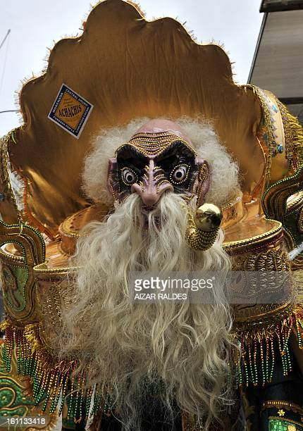 A member of the Morenada Central Cocanis de Oruro brotherhood takes part in Carnival of Oruro in the mining town of Oruro 240 km south of La Paz on...