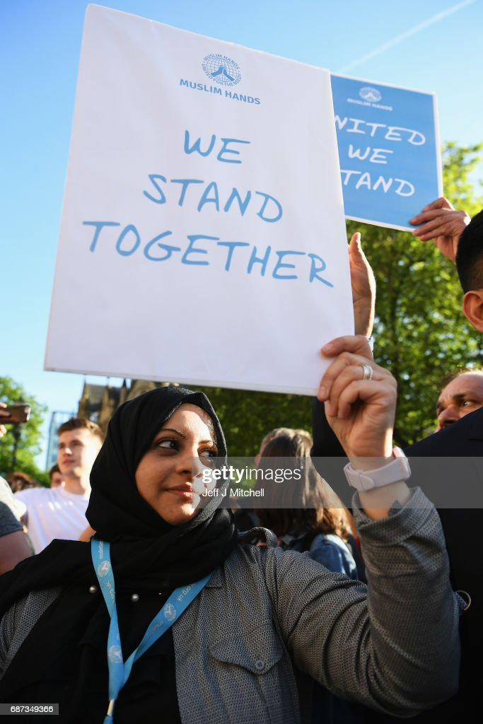 A member of the Muslim community attends a vigil, to honour the victims of Monday evening's terror attack, at Albert Square on May 23, 2017 in Manchester, England. Monday's explosion occurred at Manchester Arena as concert goers were leaving the venue after Ariana Grande had just finished performing. Greater Manchester Police are treating the explosion as a terrorist attack and have confirmed 22 fatalities and 59 injured.