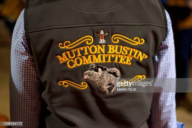 Member of the Mutton Bustin' Committee wears their jacket during the Houston Livestock Show and Rodeo on March 6, 2020 in Houston, Texas.