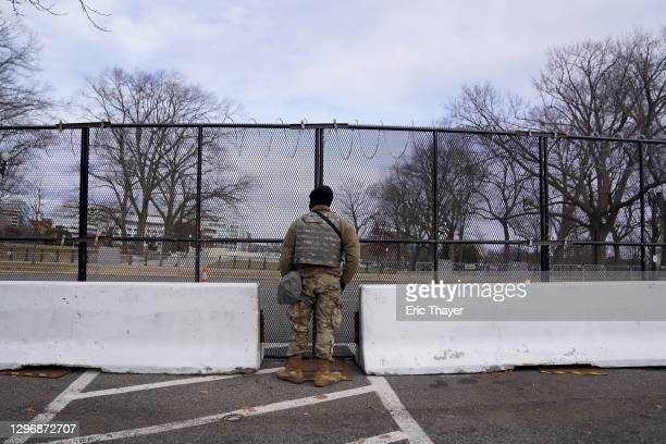 Member of the National Guard keeps watch near the U.S. Capitol on January 17, 2021 in Washington, DC. After last week's riots at the U.S. Capitol...