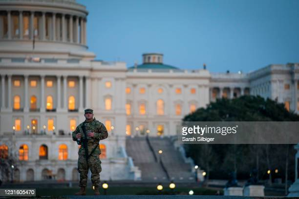 Member of the National Guard patrols outside of the U.S. Capitol on March 8, 2021 in Washington, DC. The House is scheduled to begin vote on the...