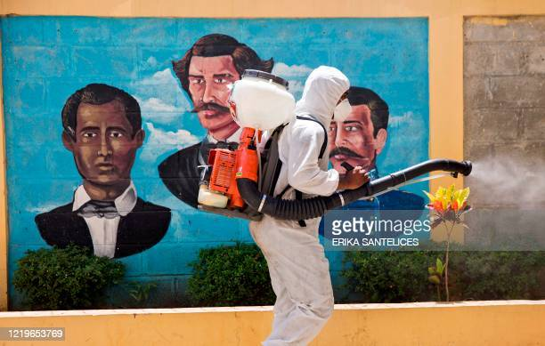 Member of the National Health Service fumigates near a mural with the images of Dominican national heroes Francisco del Rosario Sanchez, Juan Pablo...