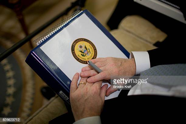 A member of the National Security Administration during a meeting between US President Barack Obama meets and Russian Foreign Minister Sergey Lavrov...