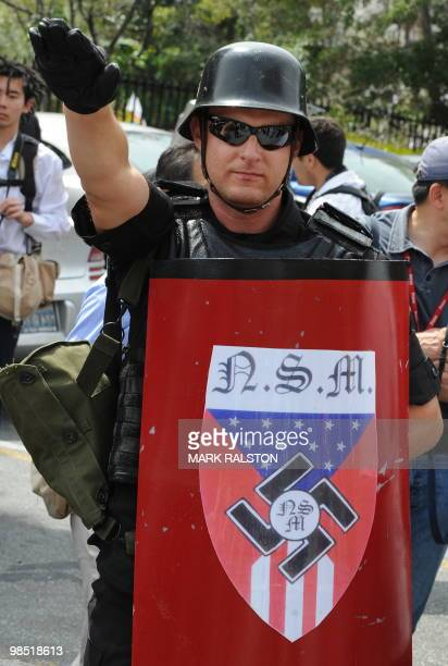 A member of the NeoNazi group The American National Socialist Movement after the group held a rally in front of the Los Angeles City Hall on April 17...