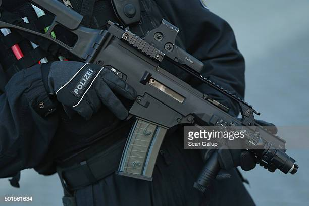 A member of the new BFEplus antiterror unit of the German federal police holds a G36C automatic weapon after taking part in a capabilities...