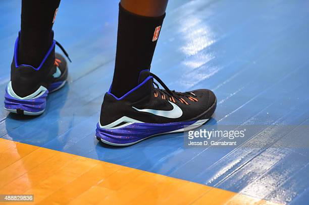Member of the New York Liberty showcases her Nike Sneakers during practice at the New York Knicks training facility on September 17 2015 in Tarrytown...