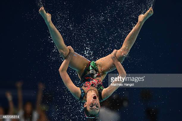 A member of the New Zealand team competes in the Women's Team Free Synchronised Swimming Preliminary on day four of the 16th FINA World Championships...