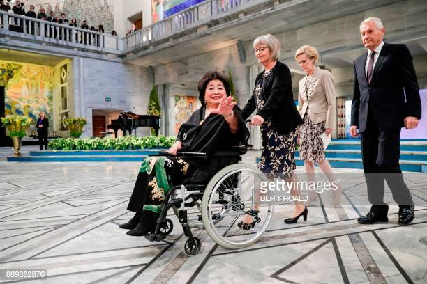 Member of the Nobel committee Tone Jorstad pushes the wheelchair with Hiroshima nuclear bombing survivor and 2017 Nobel Peace Price laureate Setsuko...