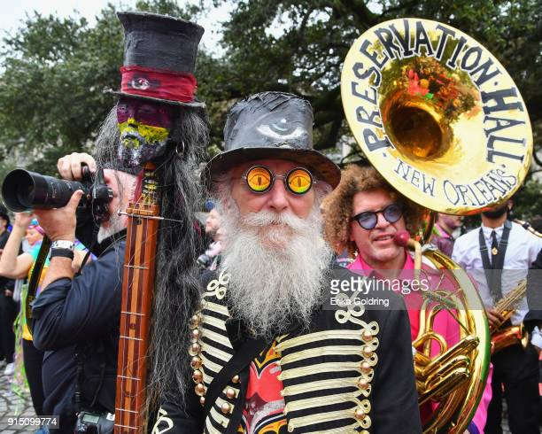 A member of the Northside Skull and Bones Gang participates in the Inaugural Krewe du Kanaval on February 6 2018 in New Orleans Louisiana