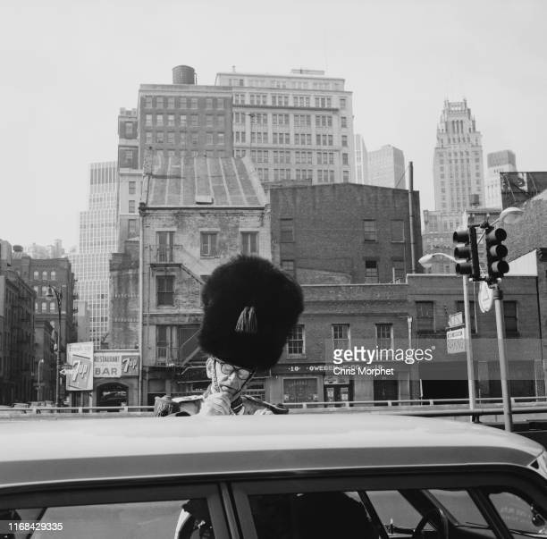 Member of the Old Guard Of The City Of New York, a veterans' organization, in ceremonial uniform, Manhattan, New York City, 1964.