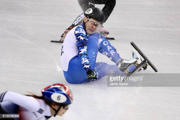A member of the Olympic Athlete from Russia crashes during the Ladies' 3000m relay Short Track Speed Skating qualifying on day one of the PyeongChang...