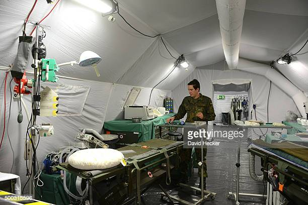 A member of the Ostfriesland rapidreaction medical unit of the Bundeswehr the German armed forces prepares her hospital for the visit of German...
