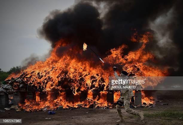 A member of the Pakistani AntiNarcotic Force throws a burning stick onto a pile of drugs and liquor that had been set on fire during a ceremony at...