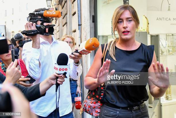 Member of the Partito Democratico political party Maria Elena Boschi arrives at the PD headquarters for a high level meeting on August 21 2019 in...