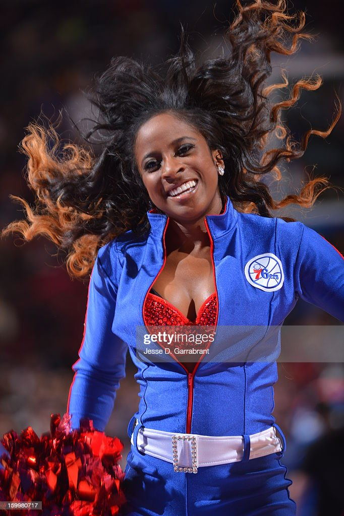A member of the Philadelphia 76ers dance team performs during halftime of the game against the Toronto Raptors at the Wells Fargo Center on January 18, 2013 in Philadelphia, Pennsylvania.