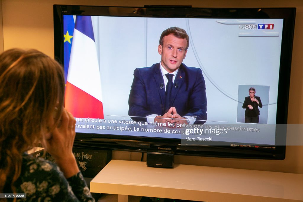 French President Emmanuel Macron Delivers A Speech During A Televised Address To The Nation : News Photo