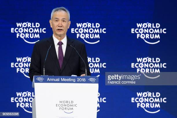 Member of the Political Bureau of the Communist Party of China Central Committee Liu He delivers a speech at the annual World Economic Forum on...