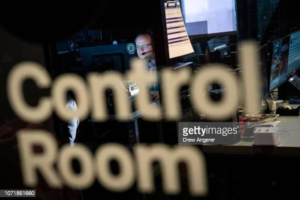 A member of the production team works in the control room during a live recording of of BuzzFeed News' AM To DM morning show at BuzzFeed headquarters...