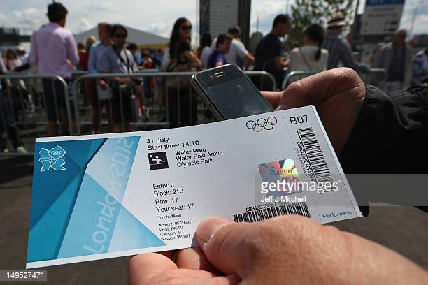 A member of the public holds a ticket for the water polo during Day 3 of the London 2012 Olympic games at the Olympic Park on July 30 2012 in London...