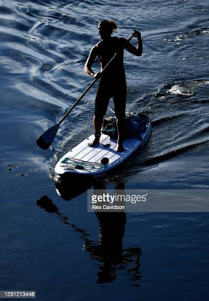 A member of the public is seen on the river on June 20 2020 in London England