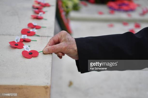 A member of the public lays a poppy during the ANZAC Day Dawn Service at Cranmer Square on April 25 2019 in Christchurch New Zealand In 1916 the...