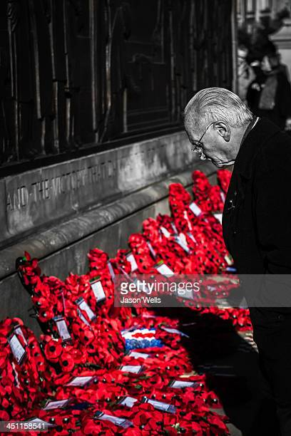 CONTENT] A member of the public looks over the poppy wreaths at The Cenotaph St George's Hall Liverpool